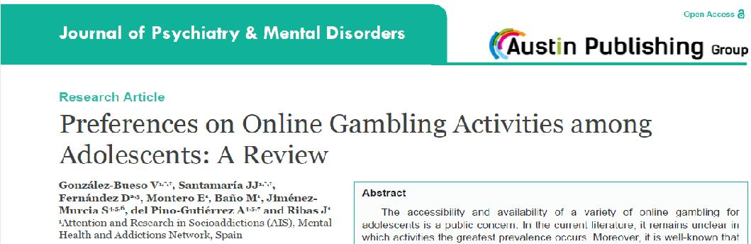 Nova Publicació D'AIS Sobre Trastorn De Joc Amb Aposta En Adolescents